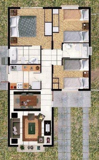 Plano de casa de un piso y 3 habitaciones