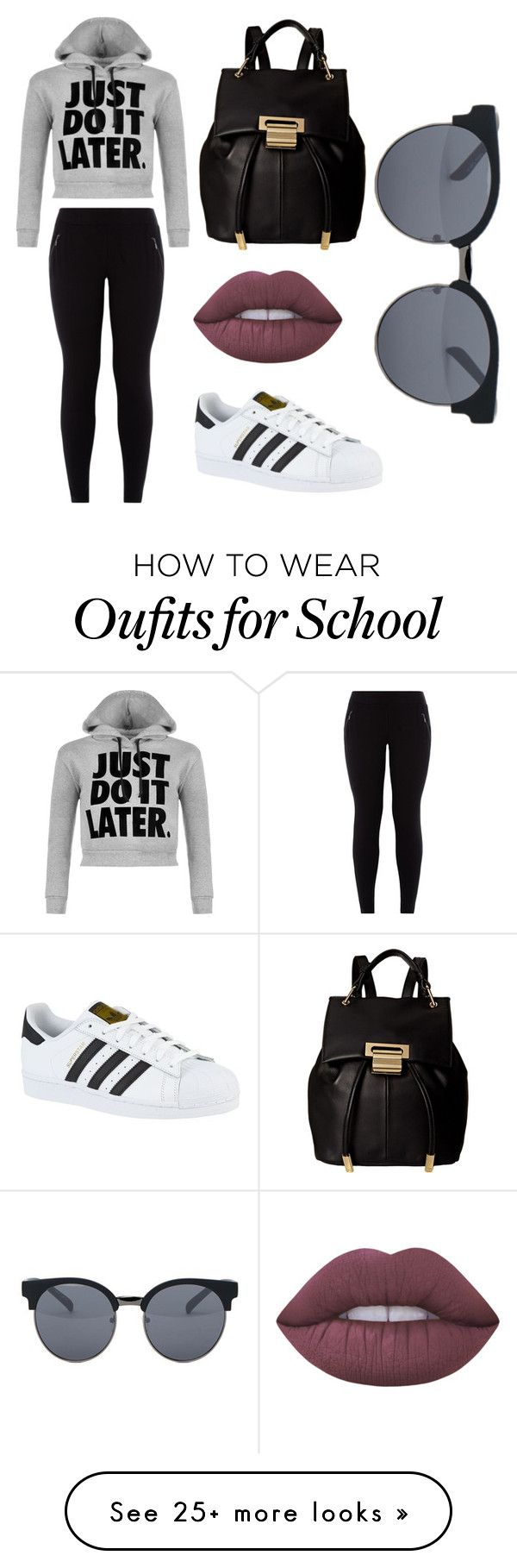 """""""High School OOTD #1"""" by beachsandstars on Polyvore featuring WearAll, New Look, adidas, Quay, Ivanka Trump and Lime Crime"""