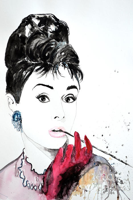 Audrey Hepburn - watercolor on Papper Painting by Ismeta Gruenwald