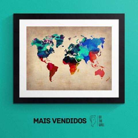 Mapa do mundo aquarela - Naxart | Crie seu quadro com essa imagem https://www.onthewall.com.br/mapa-do-mundo-aquarela #quadro #decoração #mapamundi #decoracao #canvas #moldura