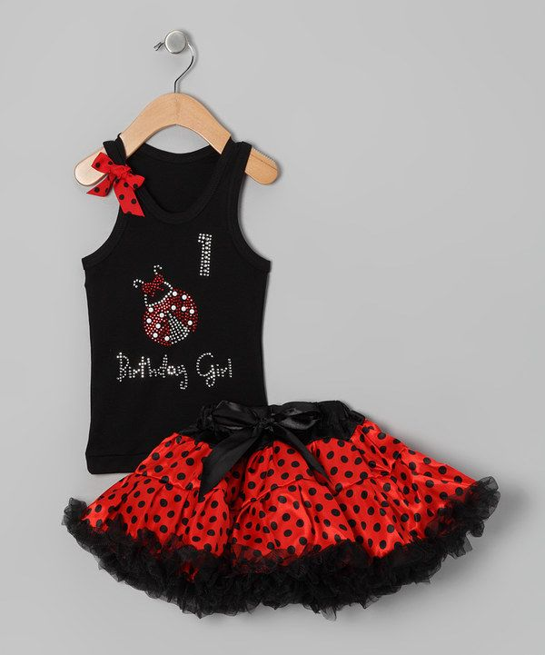 Look at this So Girly & Twirly Black Ladybug '1' Birthday Tank & Pettiskirt - Infant & Toddler on #zulily today!