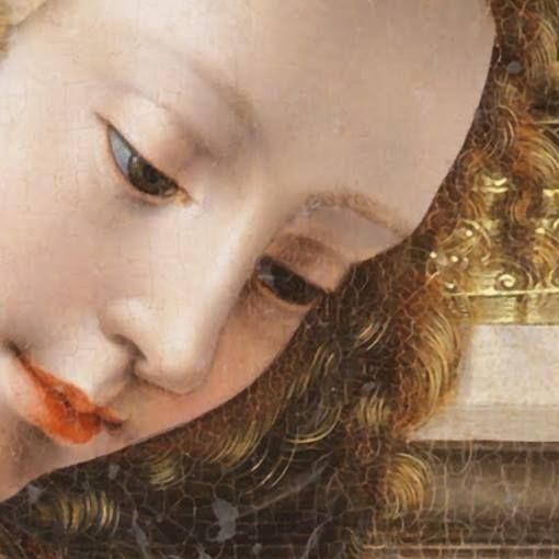 Jan Gossaert: La Sacra Famiglia. Olio su tavola del 1525-30. Bilbao Fine Art Museum, Bilbao. Una sorridente e dolce Madre, giovane e dai sottilissimi, inanellati capelli dorati.