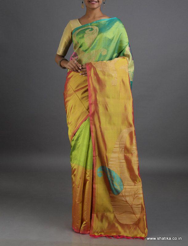 Sharadha Bloom of Paisleys #LinenSilkSaree