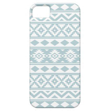Aztec Essence Ptn IIIb Duck Egg Blue & White iPhone SE/5/5s Case - pattern sample design template diy cyo customize