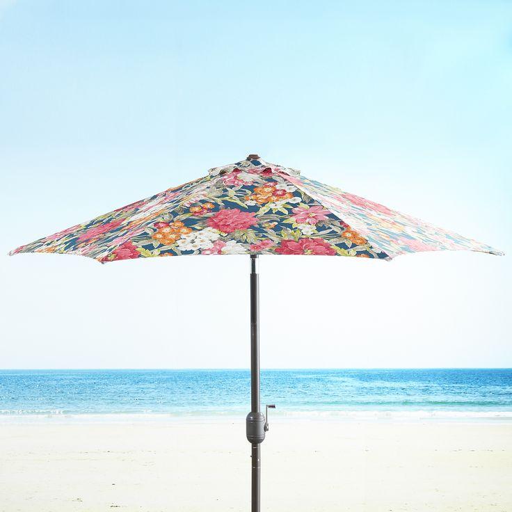 7u0027 Navy Floral Aluminum Umbrella