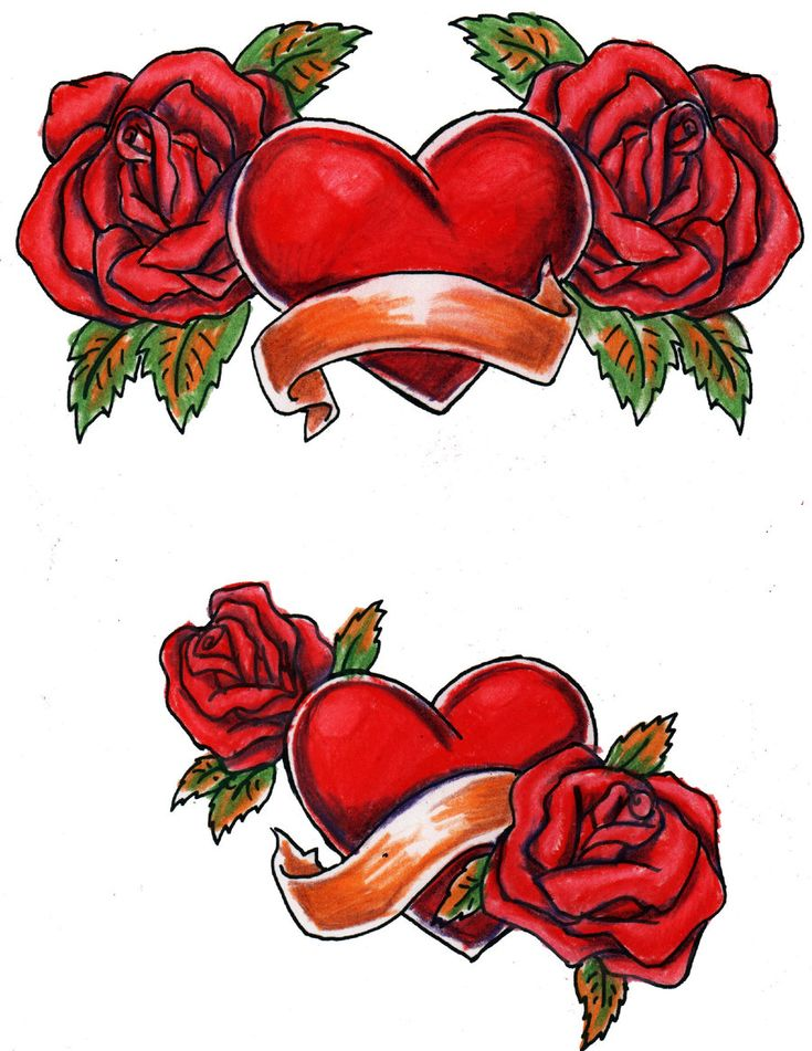 Large free printable tattoo designs hearts and roses - Pics of roses and hearts ...