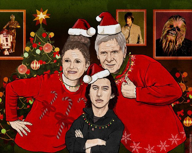 """General Leia, Han Solo, and Ben in a family Christmas portrait wearing really ugly sweaters."""