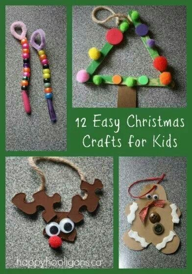 Easy Christmas crafts: Crafts For Kids, 12 Easy, Easy Xmas, Xmas Crafts, Homemade Ornaments, Easy Homemade, Christmas Idea, Happy Hooligans, Easy Christmas Crafts