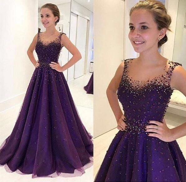 Elegant Illusion Round Neck Beaded Sequins Long Prom Dress,Sleeveless Tulle Prom Gowns P1386