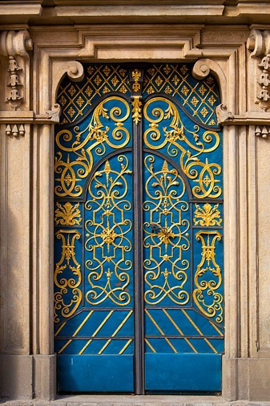 Door in Wroclaw university, Wroclaw, Poland