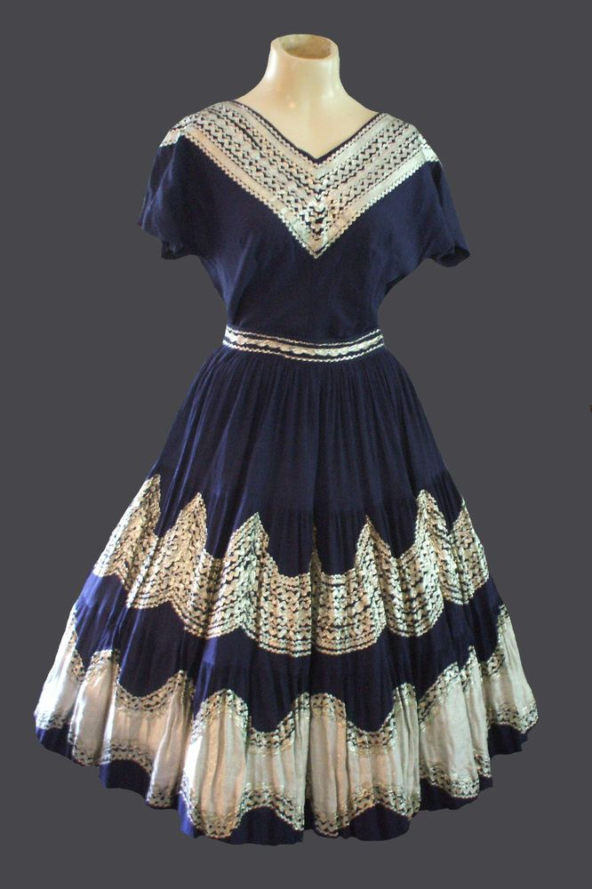VINTAGE 50's SQUAW PATIO SOUTHWEST SKIRT & TOP SET NAVY BLUE & SILVER #Unknown