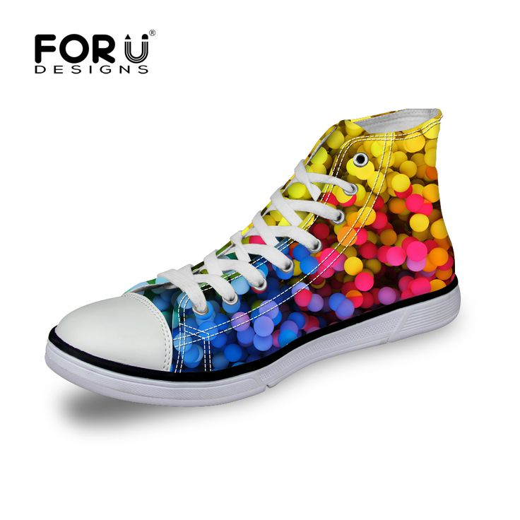 FORUDESIGNS Casual Women Canvas Shoes,Rainbow Color Flat Shoes for Teenager Girls Ladies High Top Casual Shoes chaussure femme