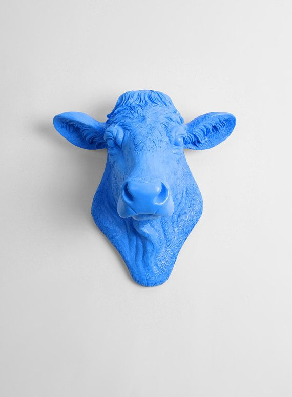 Cow Head Decor By White Faux Taxidermy