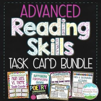 An absolute must have reading task card bundle for Grades 4+!  Rigorous and engaging, this reading skill task cards are perfect for your upper grades classroom.  There are over 100 in-depth, half page task cards in this HUGE bundle!  Many cards have multiple passages per card, including paired passages.The following SIX task card sets are included in this discounted bundle:Theme Vs.