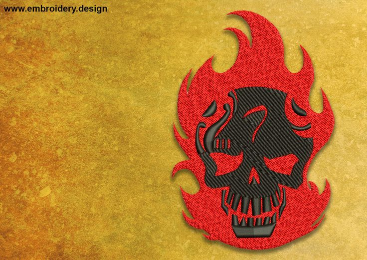 Diablo embroidery design - downloadable - 4 sizes by EmbroSoft on Etsy