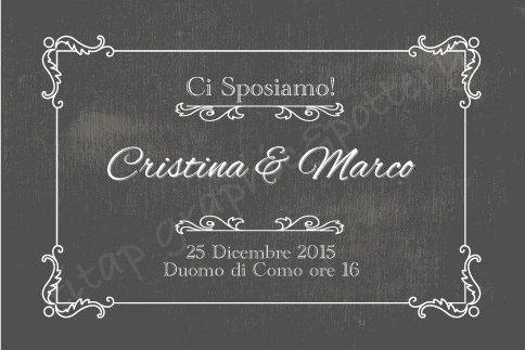 Partecipazione CARTOLINA VINTAGE completa di nozze: di TITAP