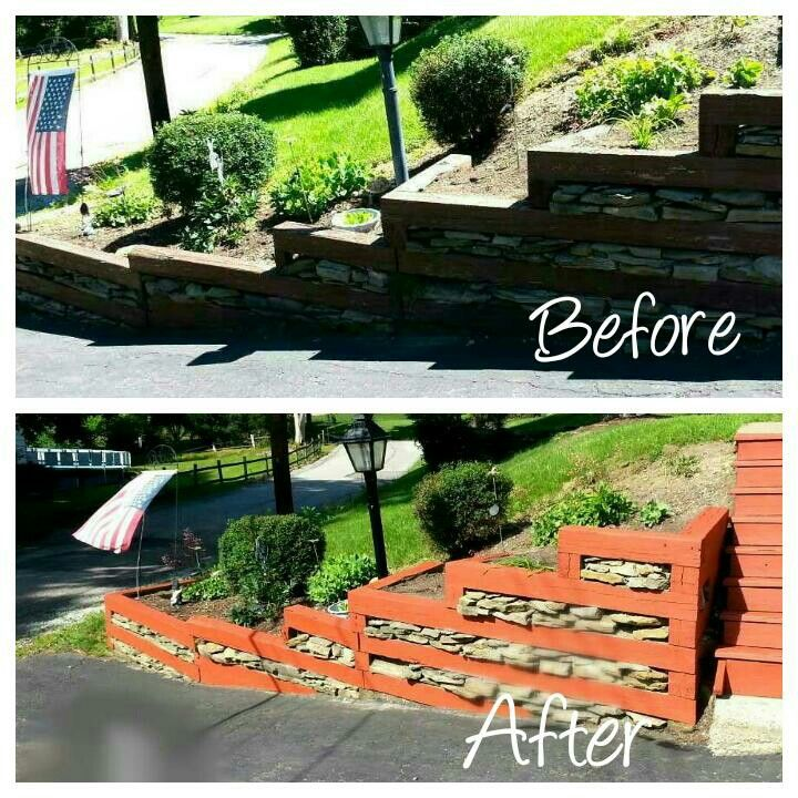 Landscape Ties Chilliwack : Before after with railroad ties in landscaping bahr