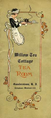 Willow Tea Cottage Tea Room menu, Saunderstown, Rhode Island, c. 1930-1950, USA .... artwork depicts young woman in traditional maid or waitress uniform carrying tea tray