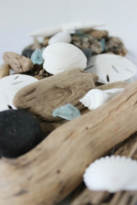 """Now available at The Everyday Home Shops: Coastal Home - """"Ocean Spa"""" potpourri with shells, beach glass, driftwood, beach rocks and sun-bleached pods.  Its a """"beach-in-a-bag.""""  $18 http://www.farmhousedecorshop.com/beach-in-a-bag---ocean-spa-scent.html"""