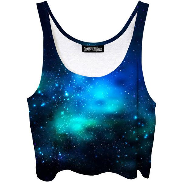 Deep Sea Space Crop Top Blue Green Ocean Galaxy Dark Bubble Stars... ($40) ❤ liked on Polyvore featuring tops, crop tops, grey, women's clothing, galaxy tank top, blue crop top, print crop tops, green top and wrap tops