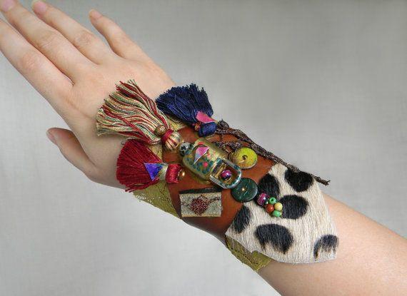 Boho Wrist cuff Tribal cuff with leopard print by Elyseeart