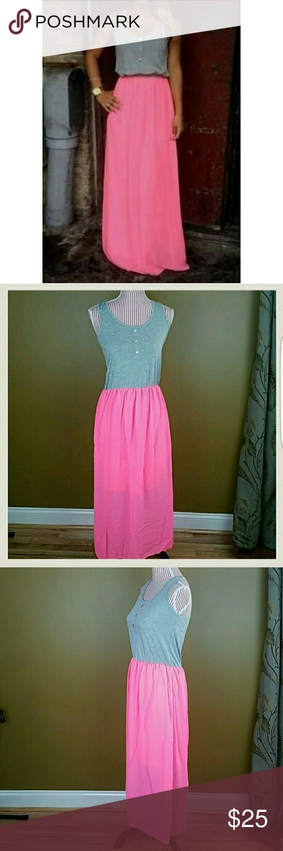 Hot pink Maxi dress Gray tank style top with hot pink Maxi. This is a one piece dress prefect for summer! Dresses Maxi