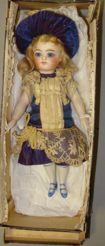 Rare boxed all-bisque doll, probably Simon & Halbig