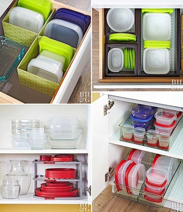 so organisieren sie kunststofftöpfe in küchenschränken