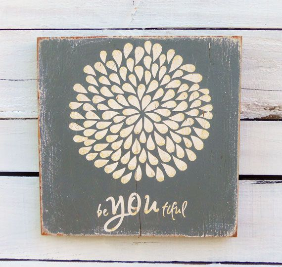 Typography Wall Art- Flower BeYOUtiful Wood Sign in Gray