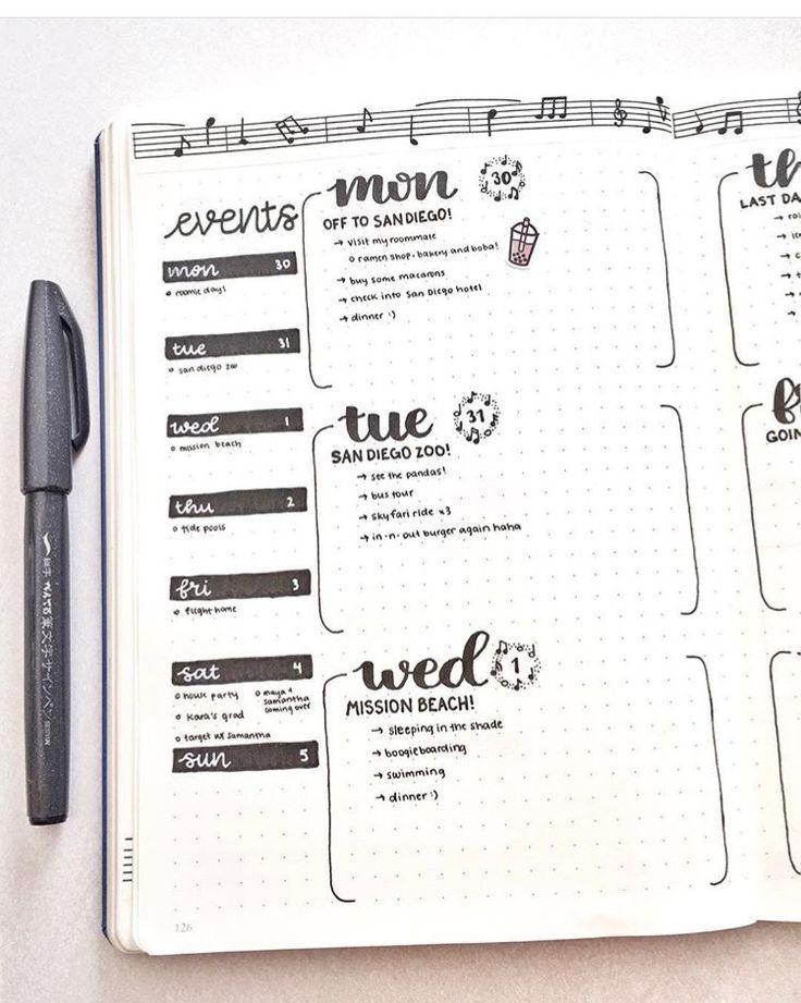 weekly log | Bullet Journal | Bullet journal weekly layout