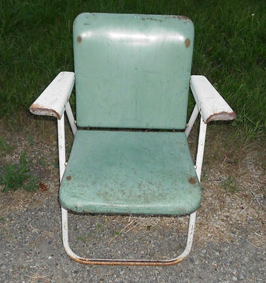 Vintage Heavy Metal Folding Lawn Chair Vintage Outdoors Pinterest