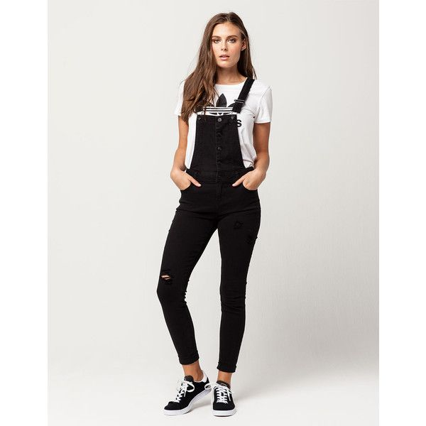 Vanilla Star Premium Womens Denim Overalls ($40) ❤ liked on Polyvore featuring jumpsuits, denim bib overalls, denim overalls, zipper jumpsuit, bib overalls and distressed denim overalls