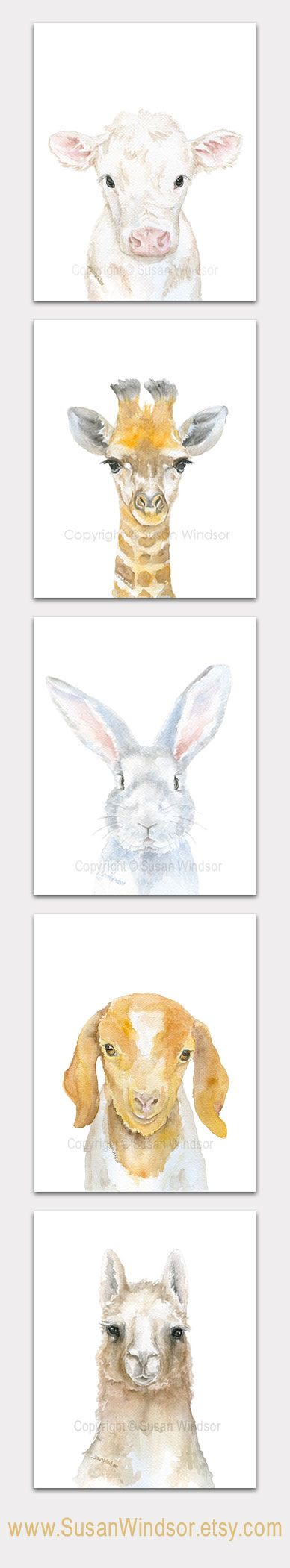 43 best images about sea bunny on pinterest bunny slippers slug and - Set Of 5 Watercolor Animal Art Prints Goat Llama Cow Bunny Giraffe Portrait Vertical Orientation