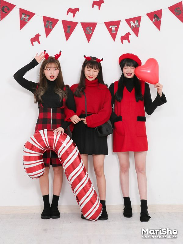 Ulzzang Girl Korean Style Red And White