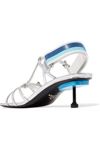Prada - Metallic Leather Slingback Sandals - Silver - IT36.5