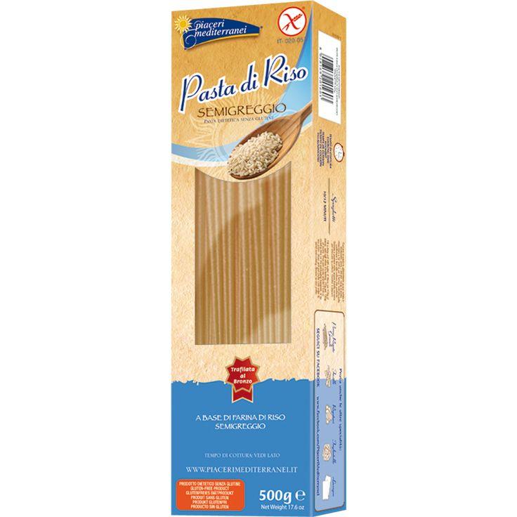 Spaghetti PASTA SENZA GLUTINE A BASE DI FARINA DI RISO SEMIGREGGIO Il riso semigreggio unisce l'alta digeribilità delle fibre con un gusto e una masticabilità eccezionali che non coprono il sapore del sugo ma anzi lo esaltano al meglio.  www.piacerimediterranei.it/prodotti/pasta-senza-glutine/spaghetti-riso