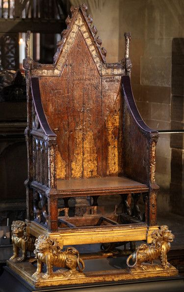 King Edward's Chair, in Westminster Abbey, is the throne used for the monarch's coronation. It was commissioned in 1296 by King Edward I built to contain the coronation stone of Scotland (the Stone of Scone).