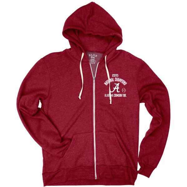 Alabama Crimson Tide Blue 84 College Football Playoff 2015 National Champions Tri-Blend Full-Zip Hoodie - Crimson - $46.99