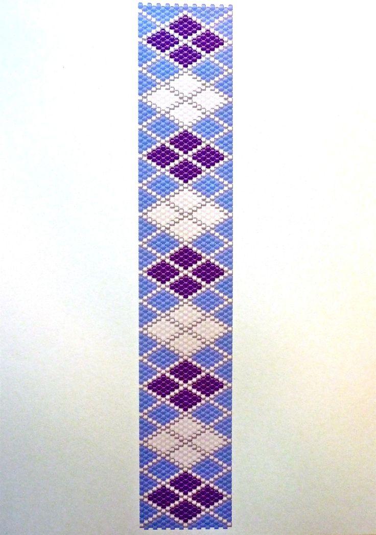 Free Peyote Stitch Beading Patterns | Purple/White Argyle - Peyote Stitch Beading Pattern | FotoFuze