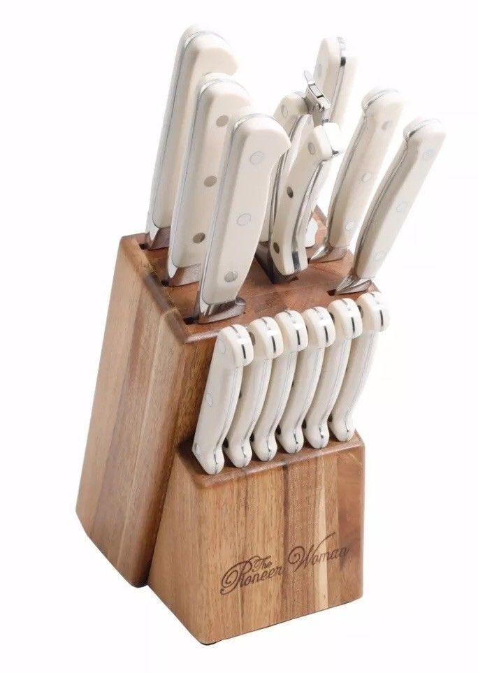 14 Piece Cutlery Knife Set Pioneer Woman Cowboy Rustic Linen Knife Wood Block Ebay Knife Set Kitchen Cowboy Rustic Knife Block Set