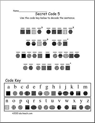 Decoding Secret Code 5 (elem) - Fun secret code activity. Match symbols to letters to decode lines from familiar fairy tales or sayings, with answer key.