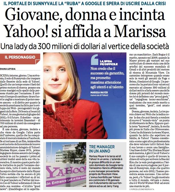 Marissa Mayer Ceo di Yahoo!