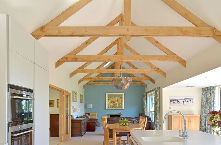 open plan kitchen/living room with feature oak trusses (Photography by Paul Tyagi)