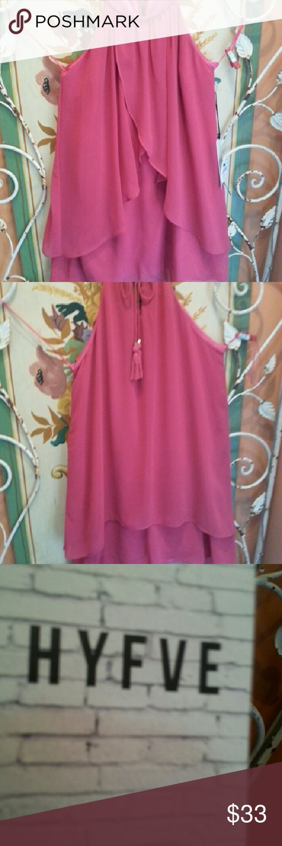 NWT Pink Sundress by Hyfve Sleeveless swing style sundress with side ruffle  in front and back with key hole back and cute tassle.  Lined. 100% Polyester. Hand Wash Size M Hyfve Dresses Mini