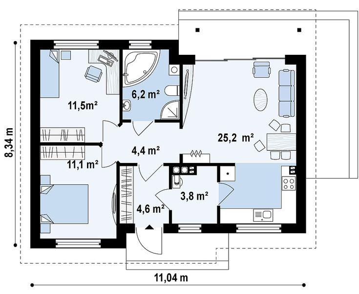 Plano de casa cl sica de 1 planta y 2 dormitorios 2 85m2 for Ver planos de casas pequenas