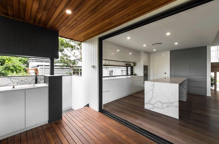 #MeirBlack in a project by @bighouselittlehouse, interior design by @luisainteriordesign. Raw marble and polished timber blend seamlessly with the garden to create a calming weekend retreat. A coherent transition from inside out allowing appropriate ventilation and for light to infiltrate the interiors - we love this space! . #Meir #MeirAustralia #MK01