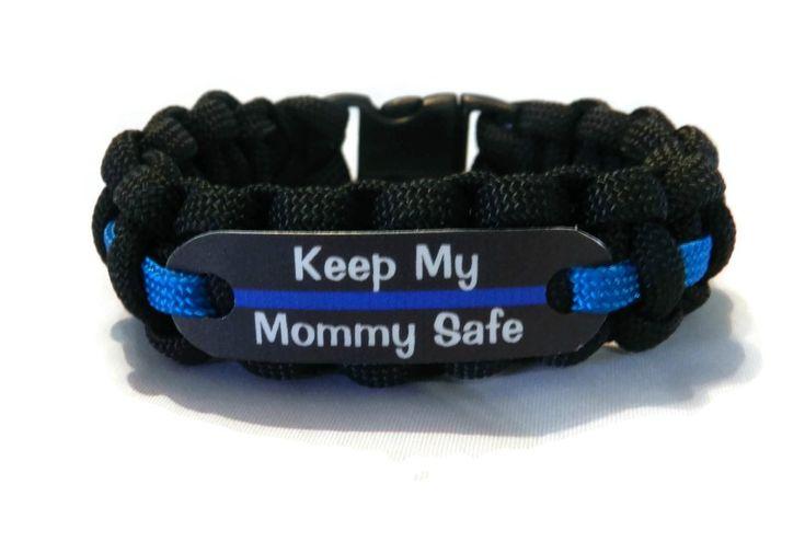 Keep my Mommy Safe Thin Blue Line Bracelet - Police Officers Kids - Just for Kids -