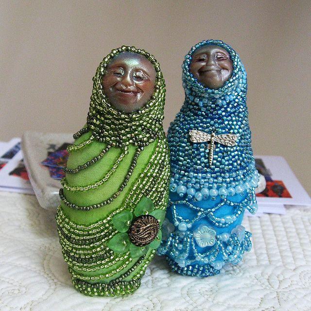 Beaded friends art dolls by empresswu designs, via Flickr
