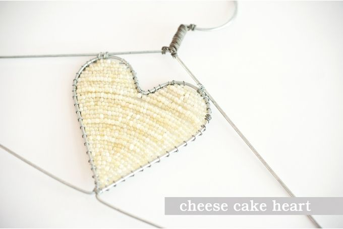 Cheese Cake Beaded Heart Hanger by The Desert Rose Project
