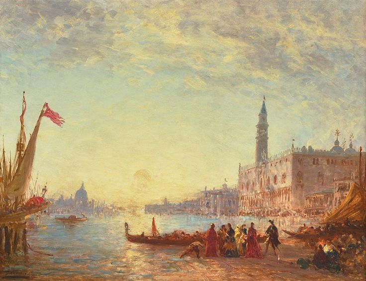 Boarding at the Esclavons quay, Venice by Felix Ziem